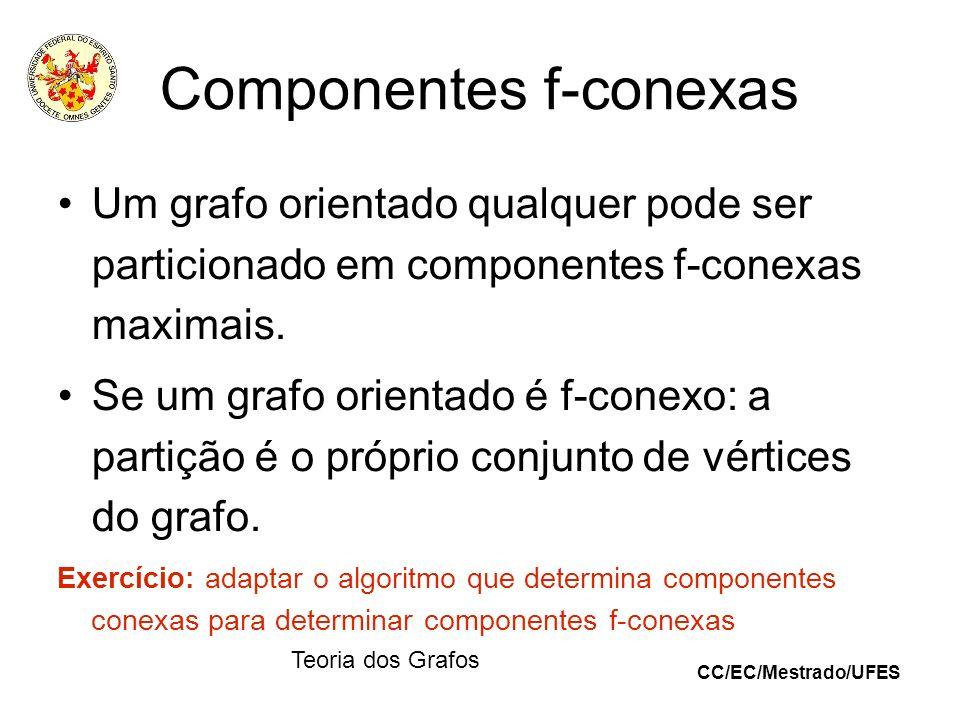 CC/EC/Mestrado/UFES Teoria dos Grafos Componentes f-conexas Um grafo orientado qualquer pode ser particionado em componentes f-conexas maximais. Se um