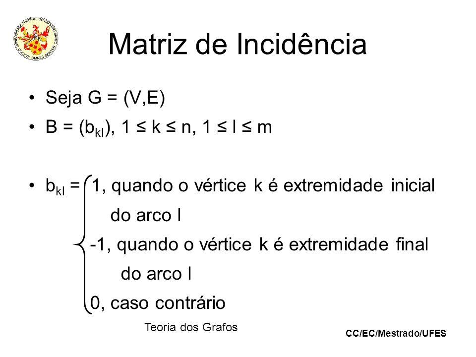 CC/EC/Mestrado/UFES Teoria dos Grafos Matriz de Incidência Seja G = (V,E) B = (b kl ), 1 k n, 1 l m b kl = 1, quando o vértice k é extremidade inicial