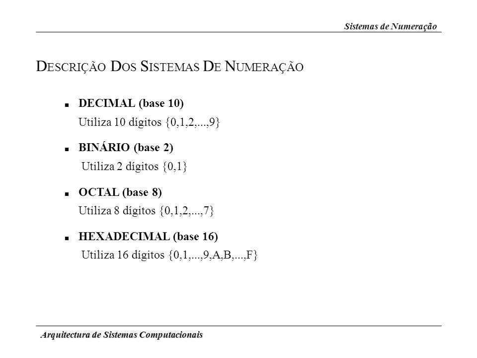 Arquitectura de Sistemas Computacionais D ESCRIÇÃO D OS S ISTEMAS D E N UMERAÇÃO DECIMAL (base 10) Utiliza 10 dígitos {0,1,2,...,9} BINÁRIO (base 2) U