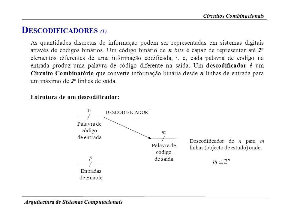 Arquitectura de Sistemas Computacionais D ESCODIFICADORES (1) As quantidades discretas de informação podem ser representadas em sistemas digitais atra