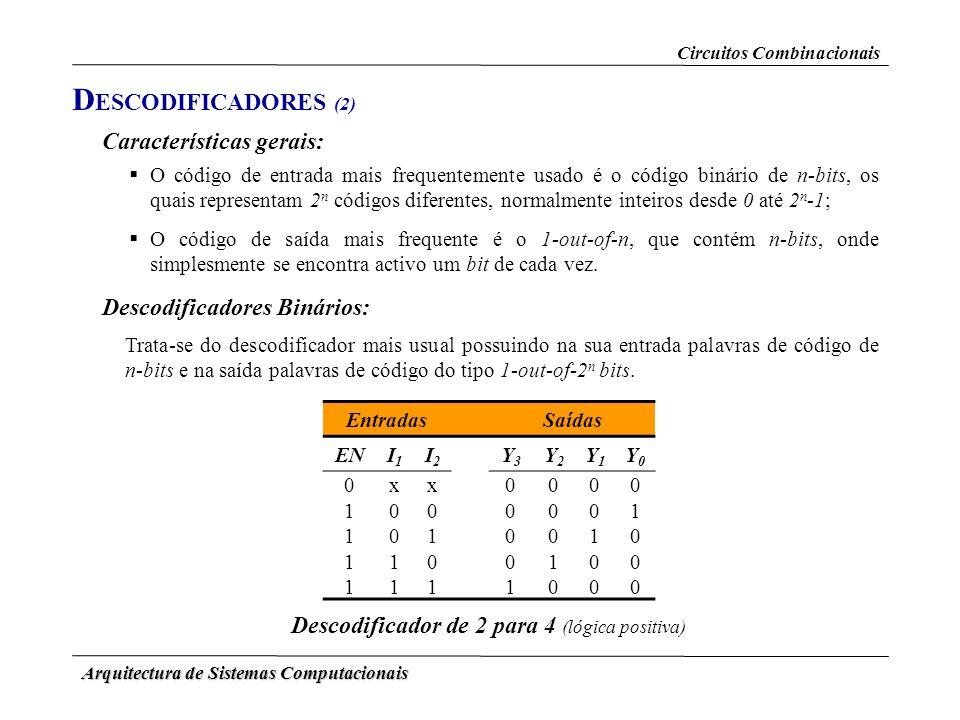 Arquitectura de Sistemas Computacionais D ESCODIFICADORES (2) Circuitos Combinacionais Características gerais: O código de entrada mais frequentemente