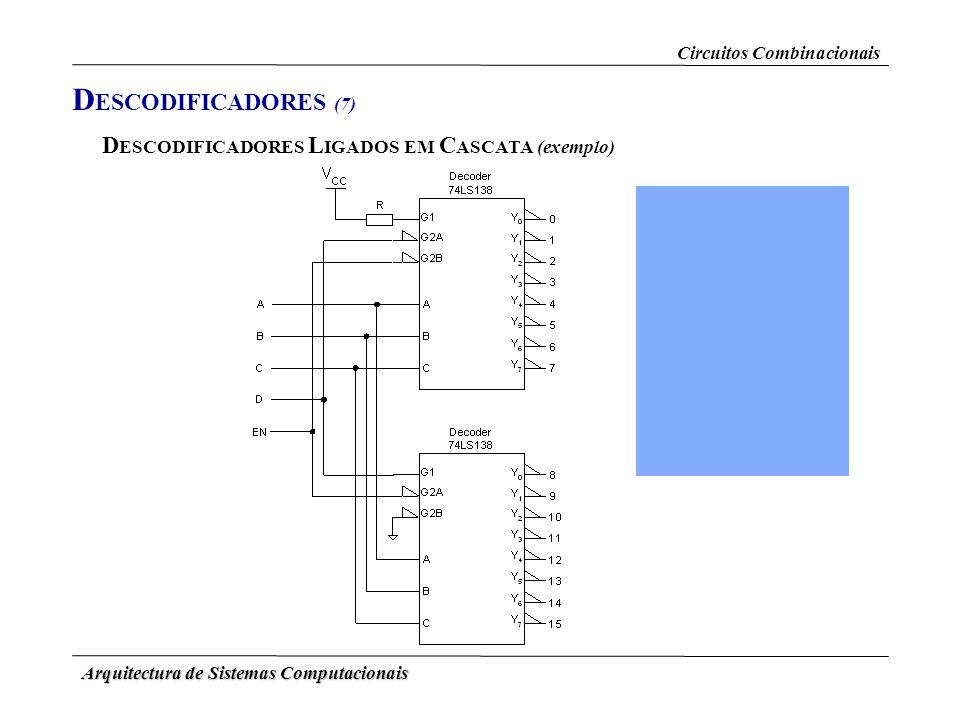 Arquitectura de Sistemas Computacionais D ESCODIFICADORES L IGADOS EM C ASCATA (exemplo) Circuitos Combinacionais D ESCODIFICADORES (7)