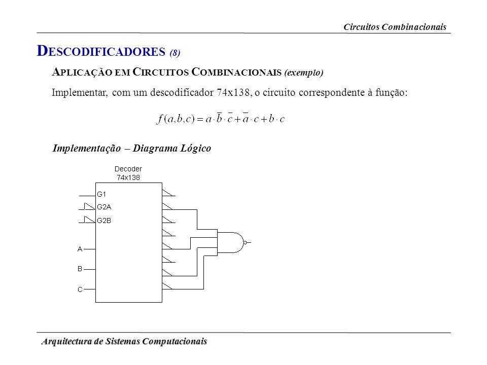 Arquitectura de Sistemas Computacionais A PLICAÇÃO EM C IRCUITOS C OMBINACIONAIS (exemplo) Implementar, com um descodificador 74x138, o circuito corre