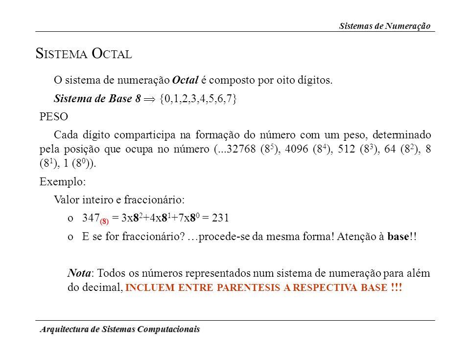 Arquitectura de Sistemas Computacionais S ISTEMA O CTAL O sistema de numeração Octal é composto por oito dígitos. Sistema de Base 8 {0,1,2,3,4,5,6,7}