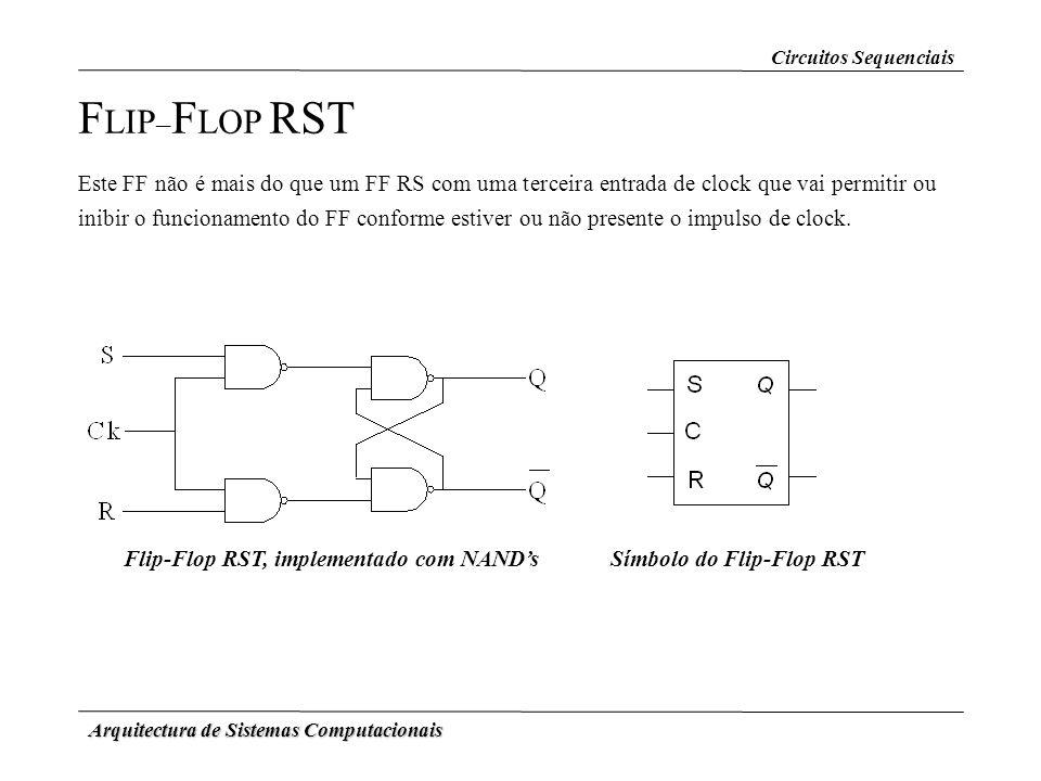 Arquitectura de Sistemas Computacionais F LIP – F LOP RST Este FF não é mais do que um FF RS com uma terceira entrada de clock que vai permitir ou ini