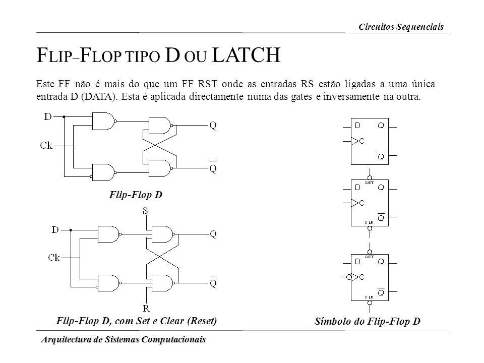 Arquitectura de Sistemas Computacionais F LIP – F LOP TIPO D OU LATCH Este FF não é mais do que um FF RST onde as entradas RS estão ligadas a uma únic