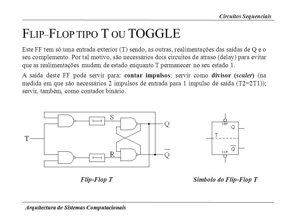 Arquitectura de Sistemas Computacionais Flip-Flop TSímbolo do Flip-Flop T F LIP – F LOP TIPO T OU TOGGLE Este FF tem só uma entrada exterior (T) sendo