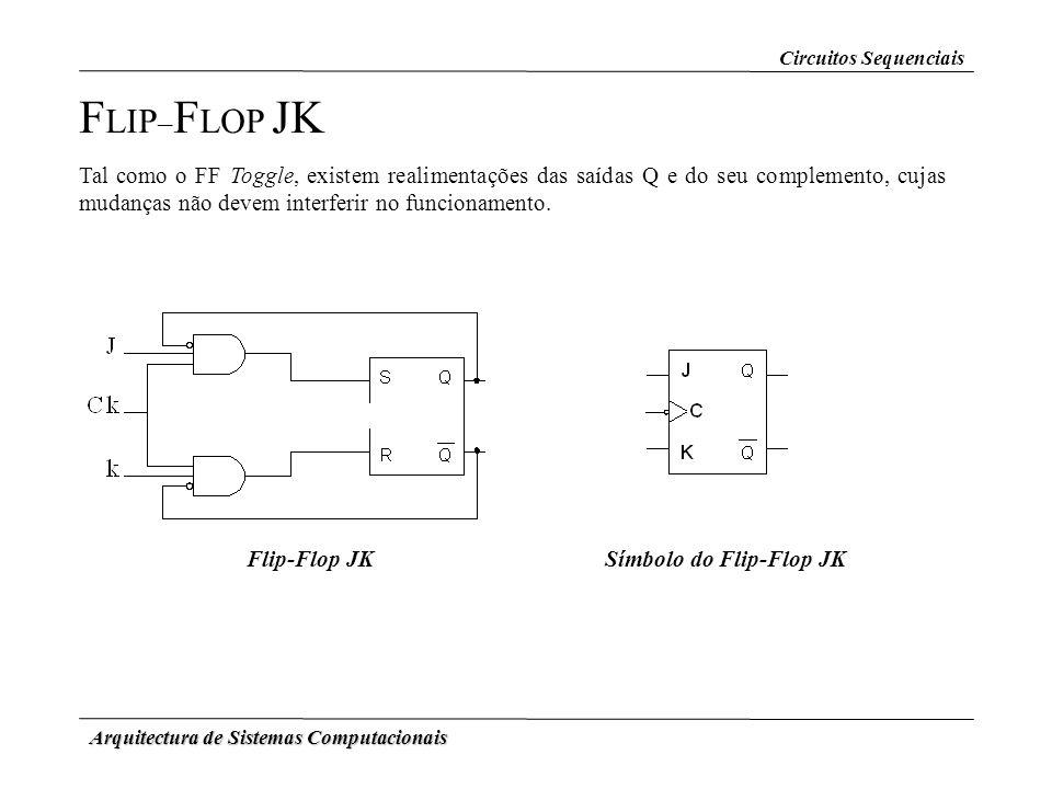 Arquitectura de Sistemas Computacionais F LIP – F LOP JK Tal como o FF Toggle, existem realimentações das saídas Q e do seu complemento, cujas mudança