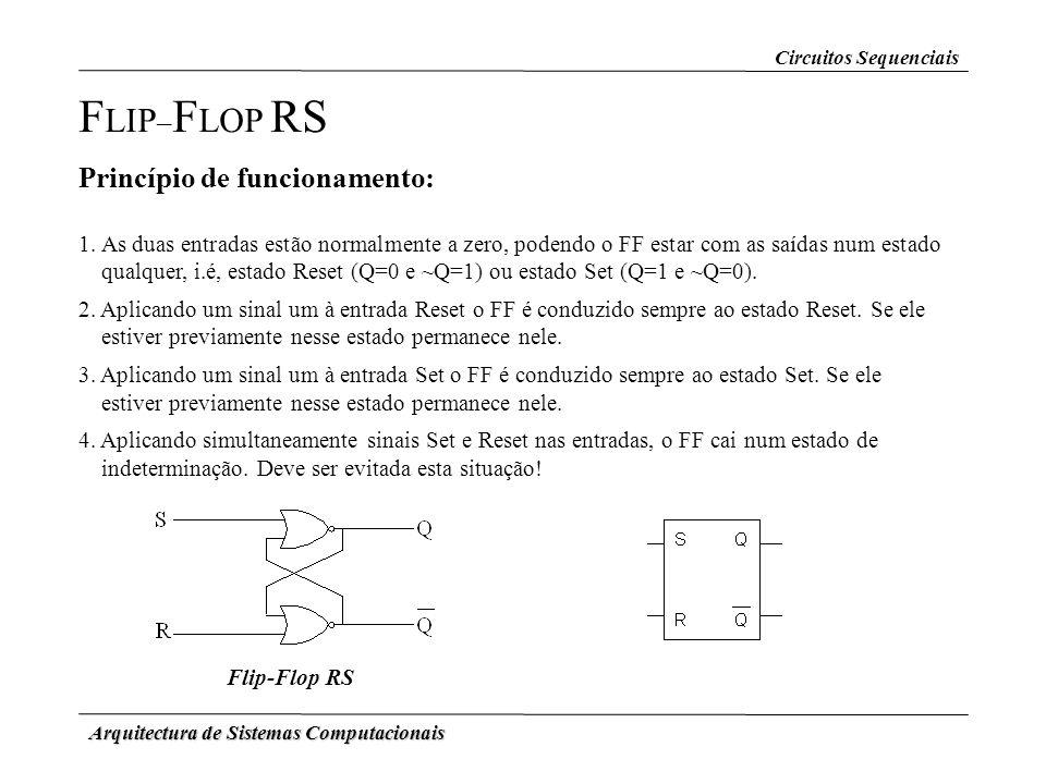 Arquitectura de Sistemas Computacionais F LIP – F LOP RS Princípio de funcionamento: 1. As duas entradas estão normalmente a zero, podendo o FF estar