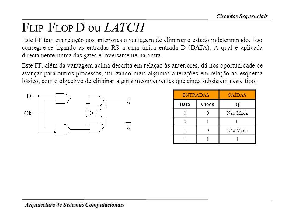 Arquitectura de Sistemas Computacionais F LIP – F LOP D ou LATCH Este FF tem em relação aos anteriores a vantagem de eliminar o estado indeterminado.