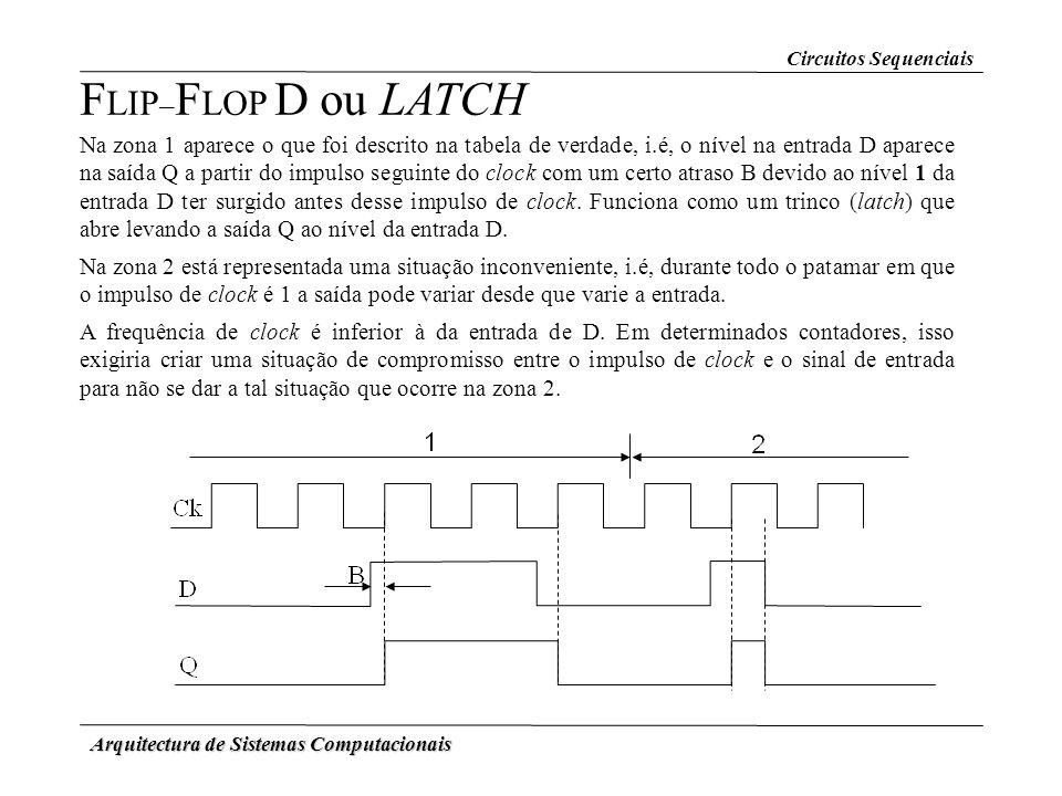 Arquitectura de Sistemas Computacionais F LIP – F LOP D ou LATCH Na zona 1 aparece o que foi descrito na tabela de verdade, i.é, o nível na entrada D