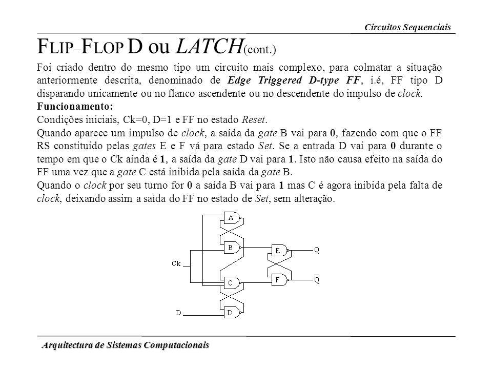 Arquitectura de Sistemas Computacionais F LIP – F LOP D ou LATCH (cont.) Foi criado dentro do mesmo tipo um circuito mais complexo, para colmatar a si