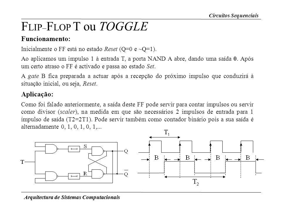 Arquitectura de Sistemas Computacionais F LIP – F LOP T ou TOGGLE Funcionamento: Inicialmente o FF está no estado Reset (Q=0 e ~Q=1). Ao aplicamos um
