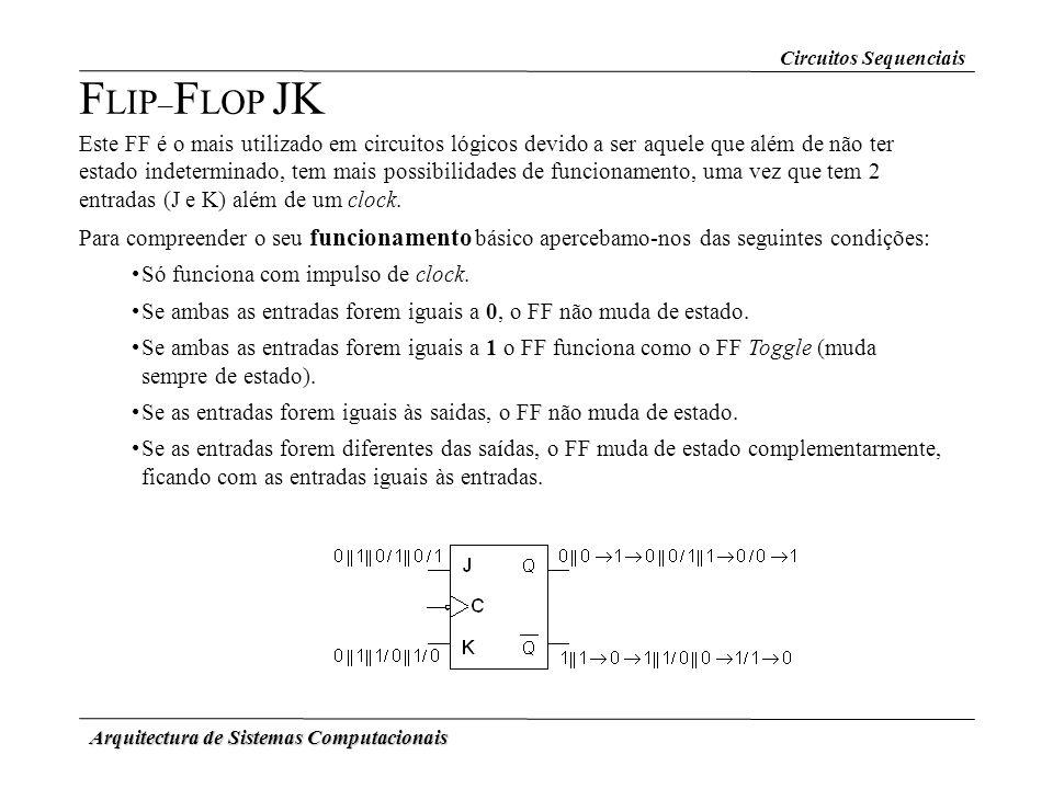 Arquitectura de Sistemas Computacionais F LIP – F LOP JK Este FF é o mais utilizado em circuitos lógicos devido a ser aquele que além de não ter estad
