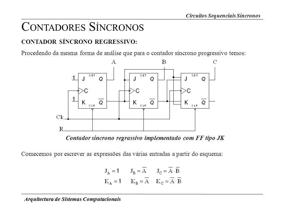 Arquitectura de Sistemas Computacionais CONTADOR SÍNCRONO REGRESSIVO: Procedendo da mesma forma de análise que para o contador síncrono progressivo te