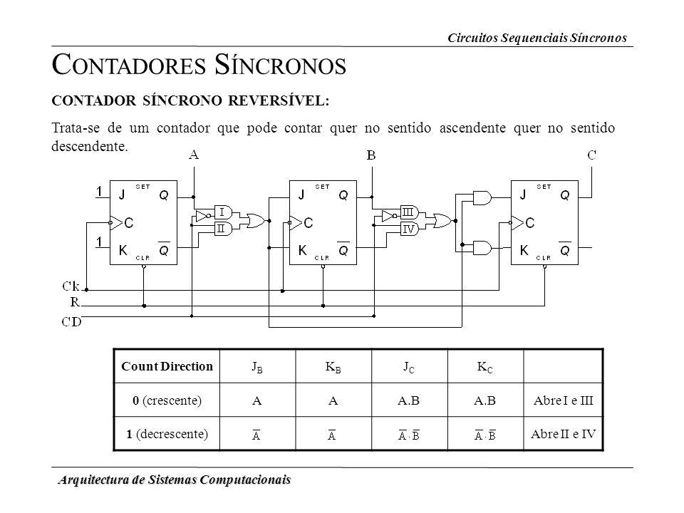 Arquitectura de Sistemas Computacionais Circuitos Sequenciais Síncronos C ONTADORES S ÍNCRONOS CONTADOR SÍNCRONO REVERSÍVEL: Trata-se de um contador q