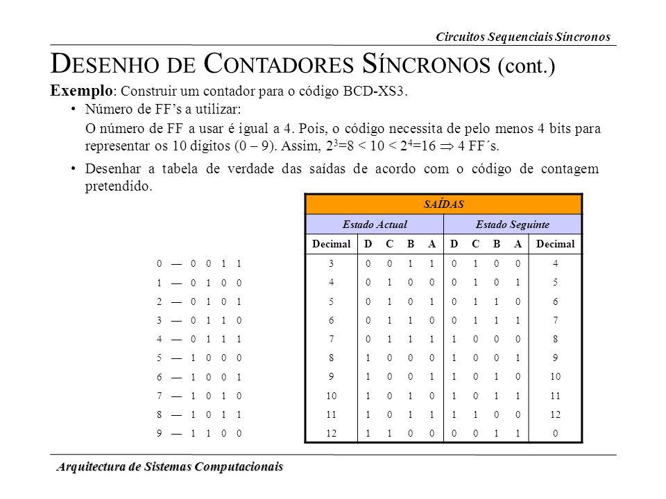 Arquitectura de Sistemas Computacionais Exemplo : Construir um contador para o código BCD-XS3. Número de FFs a utilizar: D ESENHO DE C ONTADORES S ÍNC