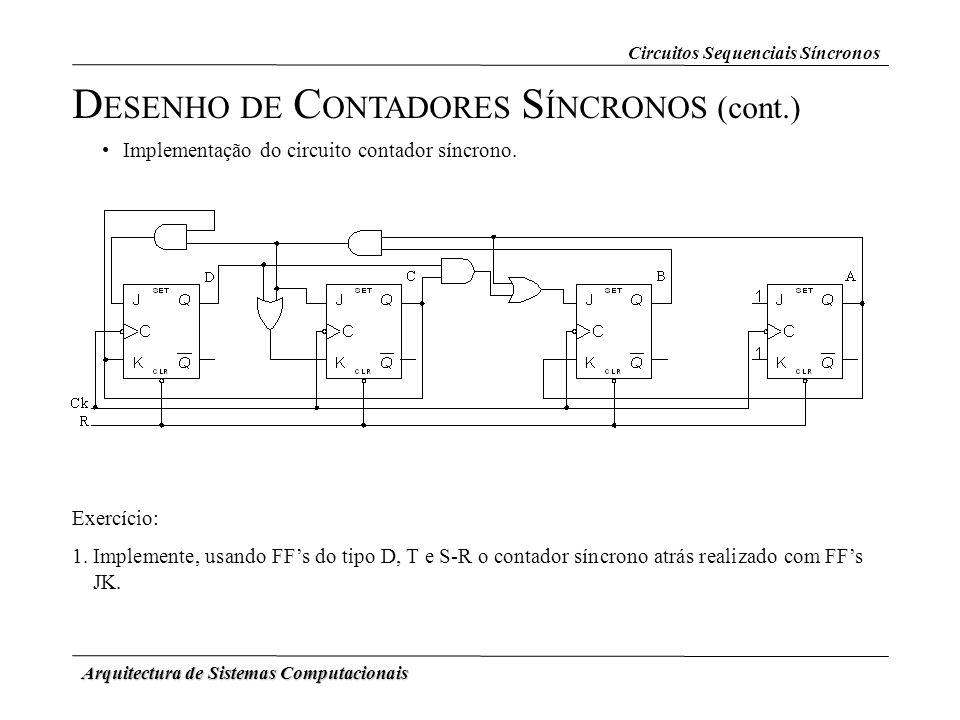 Arquitectura de Sistemas Computacionais D ESENHO DE C ONTADORES S ÍNCRONOS (cont.) Circuitos Sequenciais Síncronos Implementação do circuito contador