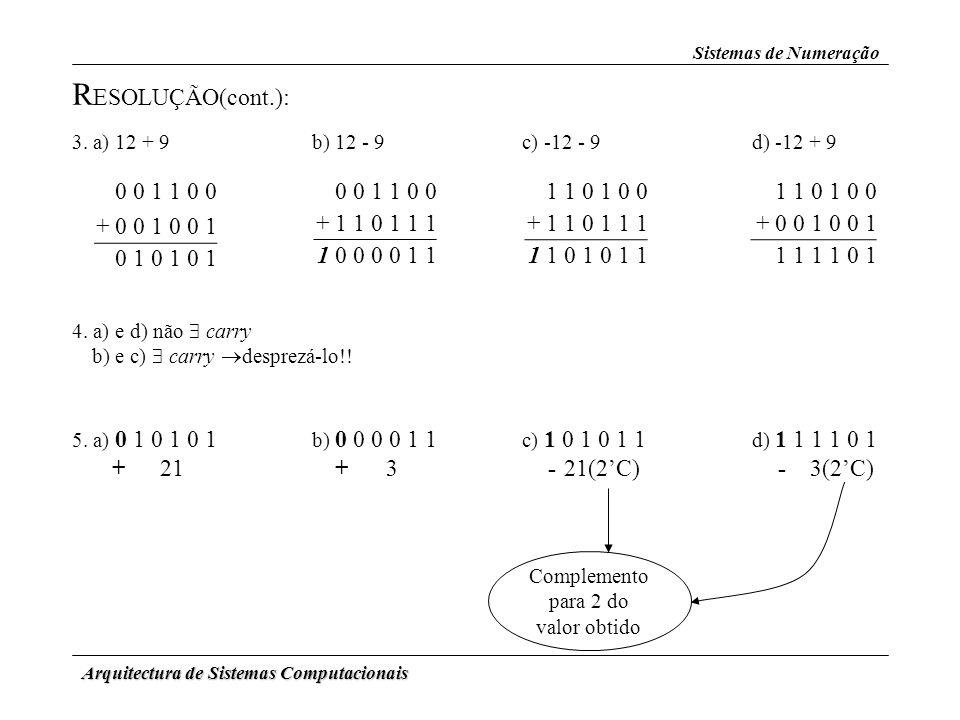 Arquitectura de Sistemas Computacionais 0 0 1 1 0 0 + 0 0 1 0 0 1 0 1 0 1 0 1 3. a) 12 + 9b) 12 - 9c) -12 - 9d) -12 + 9 0 0 1 1 0 0 + 1 1 0 1 1 1 1 0