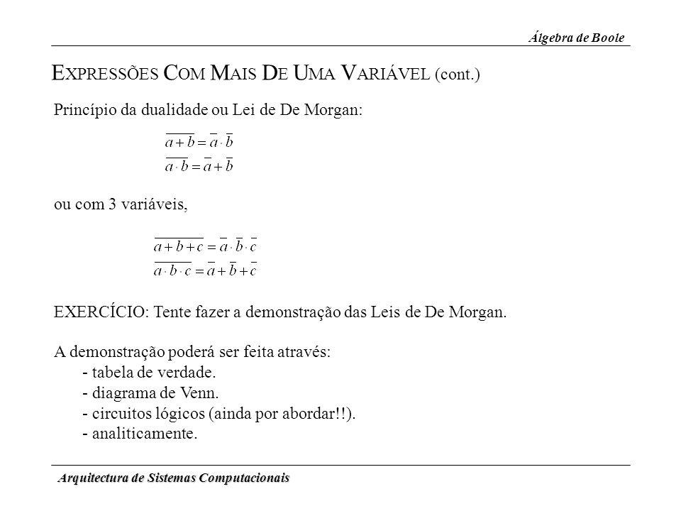 Arquitectura de Sistemas Computacionais E XPRESSÕES C OM M AIS D E U MA V ARIÁVEL (cont.) Álgebra de Boole ou com 3 variáveis, Princípio da dualidade