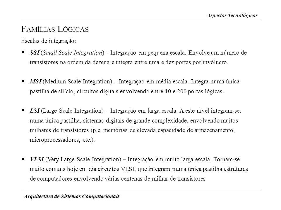 Arquitectura de Sistemas Computacionais F AMÍLIAS L ÓGICAS Aspectos Tecnológicos Escalas de integração: SSI (Small Scale Integration) – Integração em