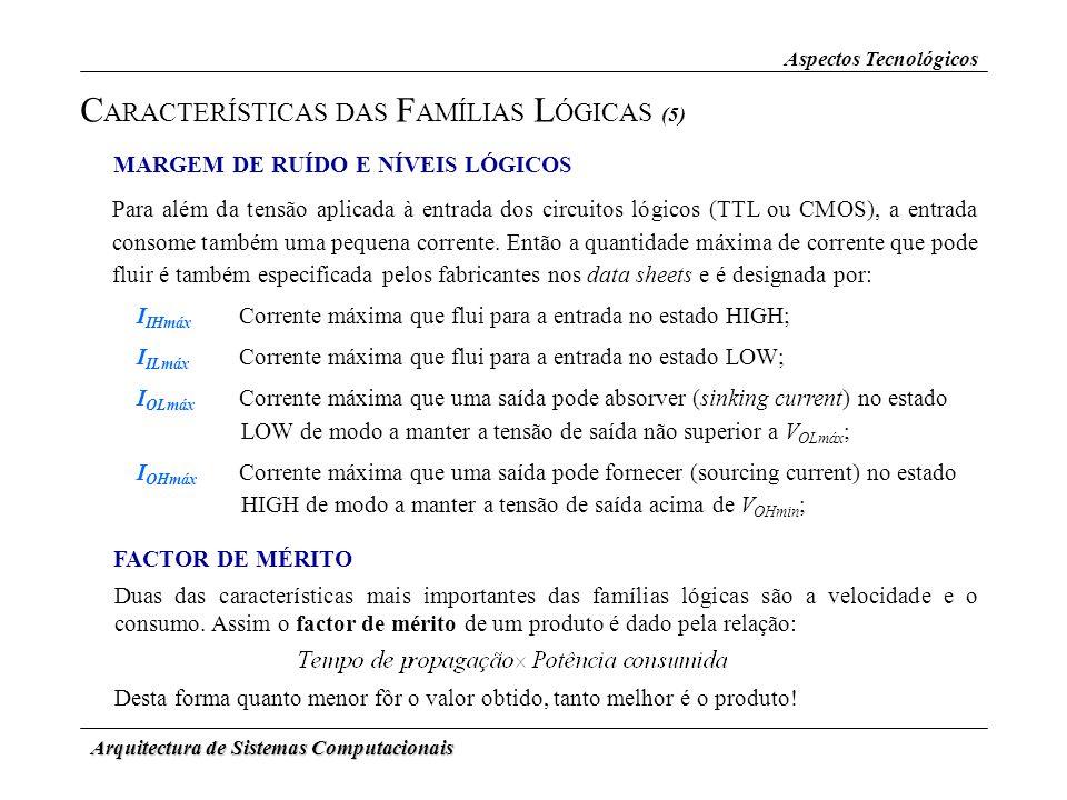 Arquitectura de Sistemas Computacionais Aspectos Tecnológicos C ARACTERÍSTICAS DAS F AMÍLIAS L ÓGICAS (5) MARGEM DE RUÍDO E NÍVEIS LÓGICOS Para além d