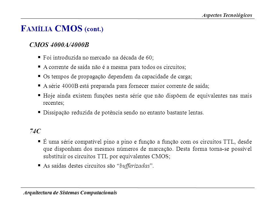 Arquitectura de Sistemas Computacionais Aspectos Tecnológicos F AMÍLIA CMOS (cont.) CMOS 4000A/4000B Foi introduzida no mercado na década de 60; A cor