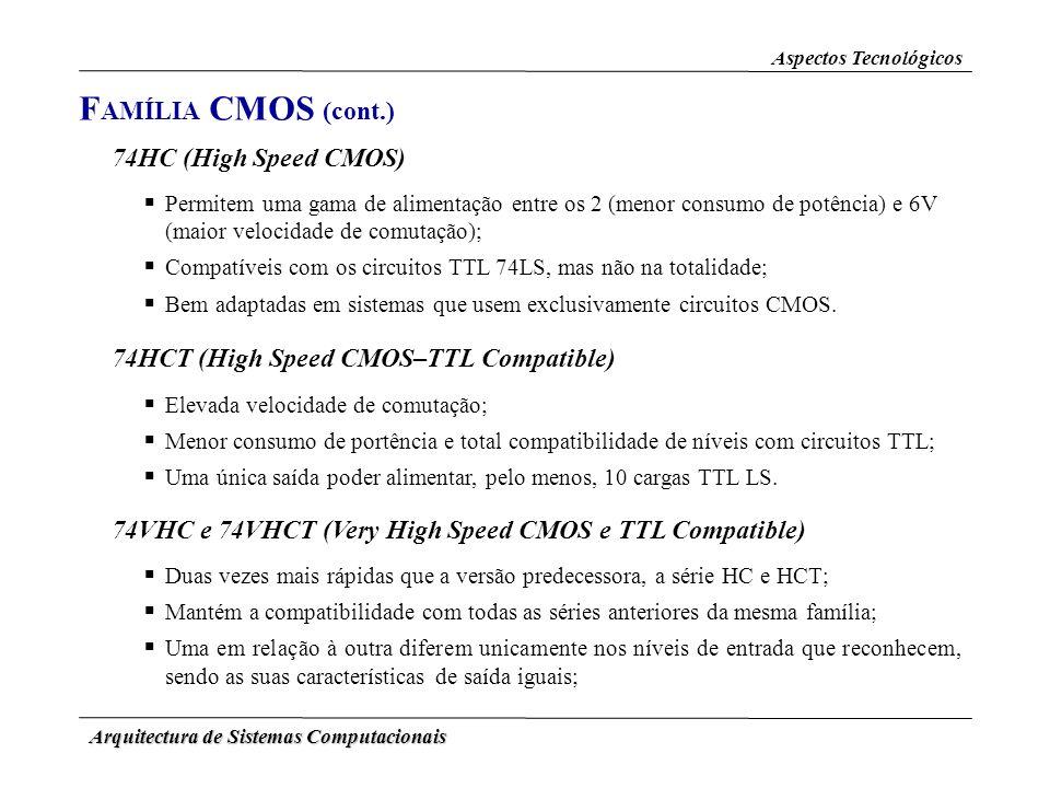 Arquitectura de Sistemas Computacionais Aspectos Tecnológicos F AMÍLIA CMOS (cont.) 74HC (High Speed CMOS) Permitem uma gama de alimentação entre os 2