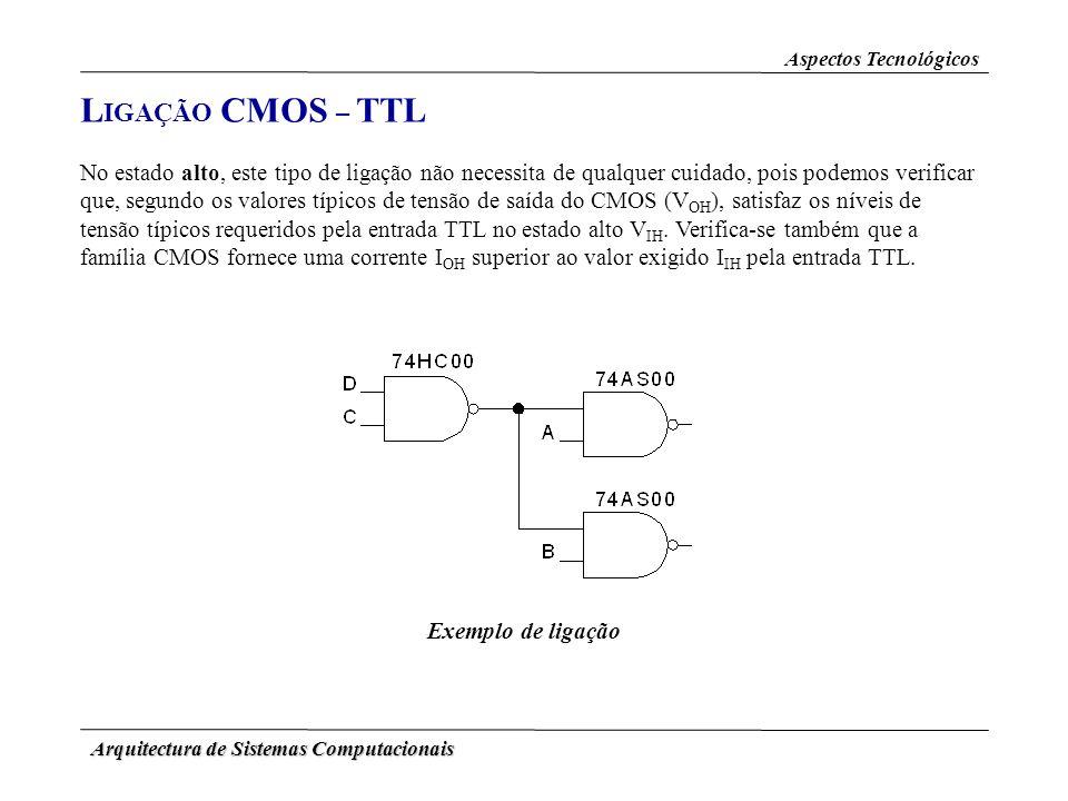Arquitectura de Sistemas Computacionais L IGAÇÃO CMOS – TTL Aspectos Tecnológicos No estado alto, este tipo de ligação não necessita de qualquer cuida