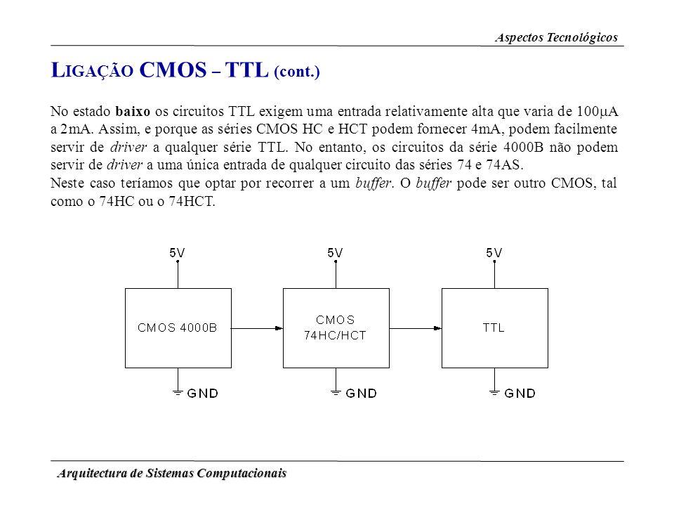 Arquitectura de Sistemas Computacionais L IGAÇÃO CMOS – TTL (cont.) Aspectos Tecnológicos No estado baixo os circuitos TTL exigem uma entrada relativa