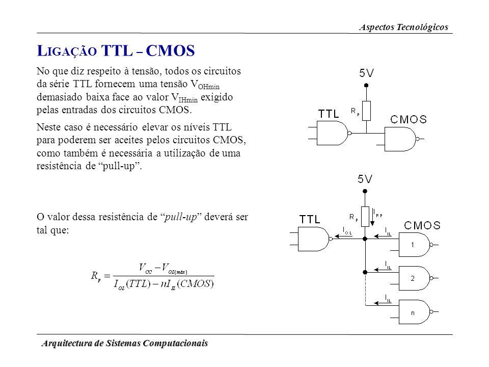 Arquitectura de Sistemas Computacionais L IGAÇÃO TTL – CMOS Aspectos Tecnológicos No que diz respeito à tensão, todos os circuitos da série TTL fornec
