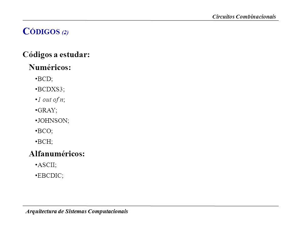 Arquitectura de Sistemas Computacionais Códigos a estudar: Numéricos: BCD; BCDXS3; 1 out of n; GRAY; JOHNSON; BCO; BCH; Alfanuméricos: ASCII; EBCDIC;
