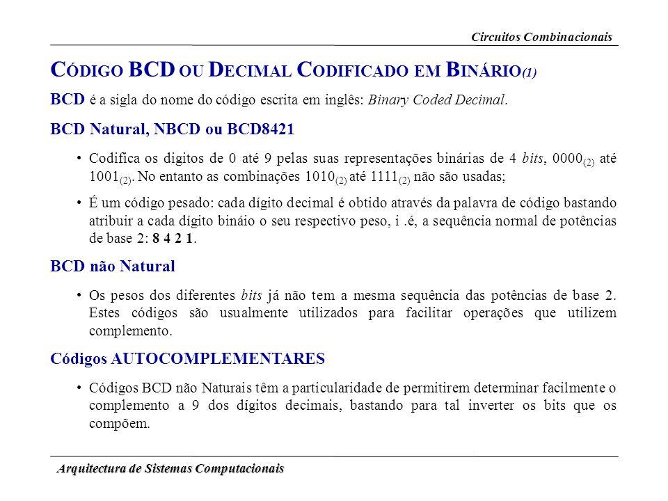 Arquitectura de Sistemas Computacionais C ÓDIGO BCD OU D ECIMAL C ODIFICADO EM B INÁRIO (1) BCD é a sigla do nome do código escrita em inglês: Binary