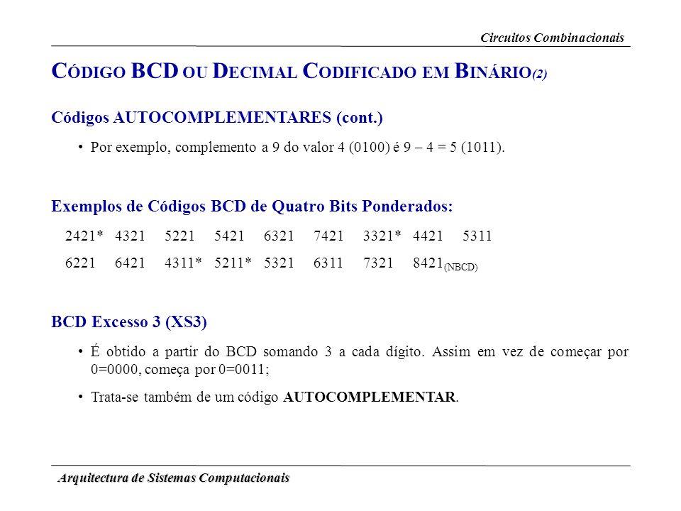 Arquitectura de Sistemas Computacionais Códigos AUTOCOMPLEMENTARES (cont.) Por exemplo, complemento a 9 do valor 4 (0100) é 9 – 4 = 5 (1011). Exemplos