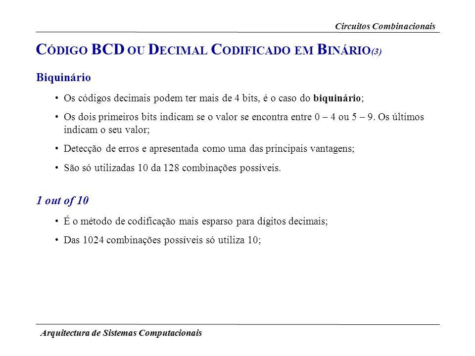 Arquitectura de Sistemas Computacionais 1 out of 10 É o método de codificação mais esparso para dígitos decimais; Das 1024 combinações possíveis só ut