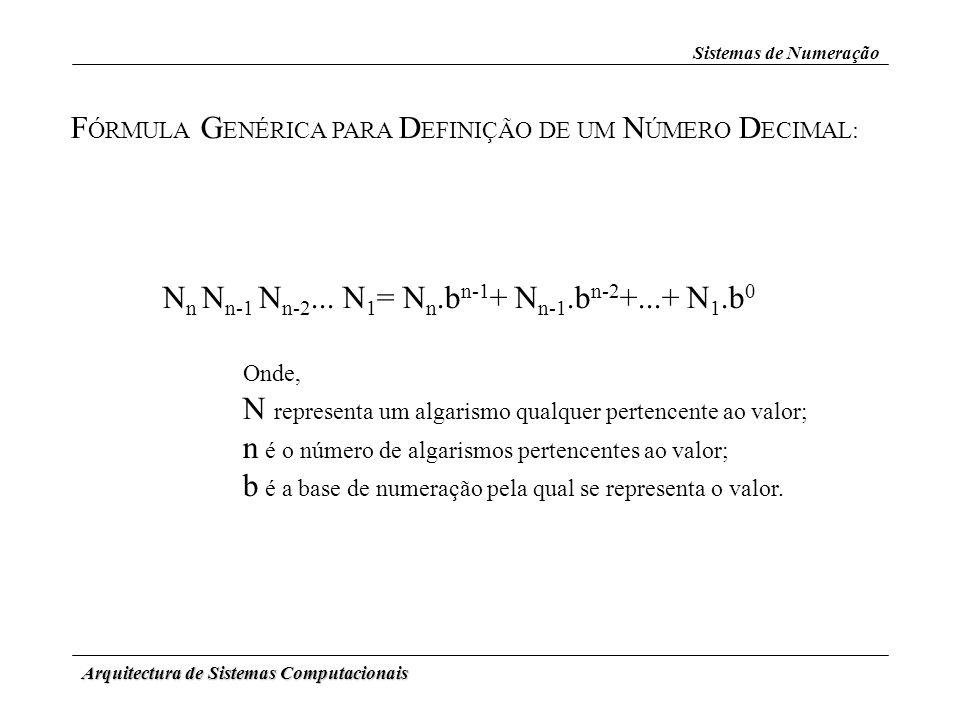 Arquitectura de Sistemas Computacionais Sistemas de Numeração F ÓRMULA G ENÉRICA PARA D EFINIÇÃO DE UM N ÚMERO D ECIMAL: N n N n-1 N n-2... N 1 = N n.