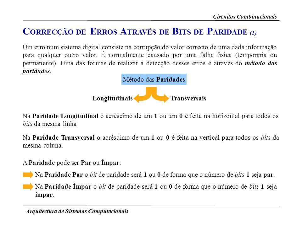 Arquitectura de Sistemas Computacionais C ORRECÇÃO DE E RROS A TRAVÉS DE B ITS DE P ARIDADE (1) Um erro num sistema digital consiste na corrupção do v