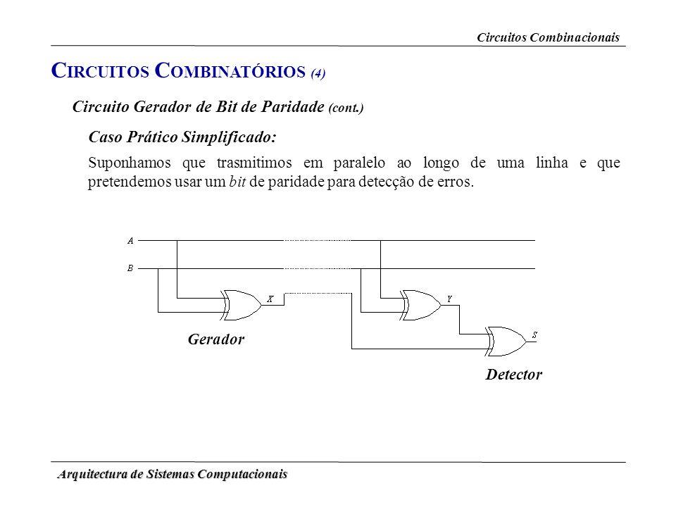 Arquitectura de Sistemas Computacionais C IRCUITOS C OMBINATÓRIOS (4) Circuitos Combinacionais Circuito Gerador de Bit de Paridade (cont.) Suponhamos