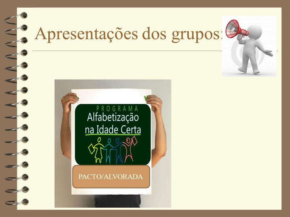 Apresentações dos grupos: PACTO/ALVORADA