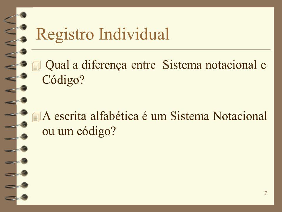 Registro Individual 4 Qual a diferença entre Sistema notacional e Código? 4 A escrita alfabética é um Sistema Notacional ou um código? 7