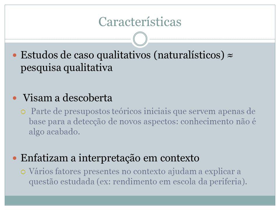 Características Estudos de caso qualitativos (naturalísticos) pesquisa qualitativa Visam a descoberta Parte de presupostos teóricos iniciais que serve