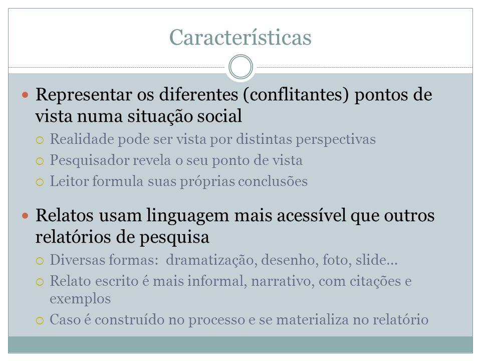 Características Representar os diferentes (conflitantes) pontos de vista numa situação social Realidade pode ser vista por distintas perspectivas Pesq