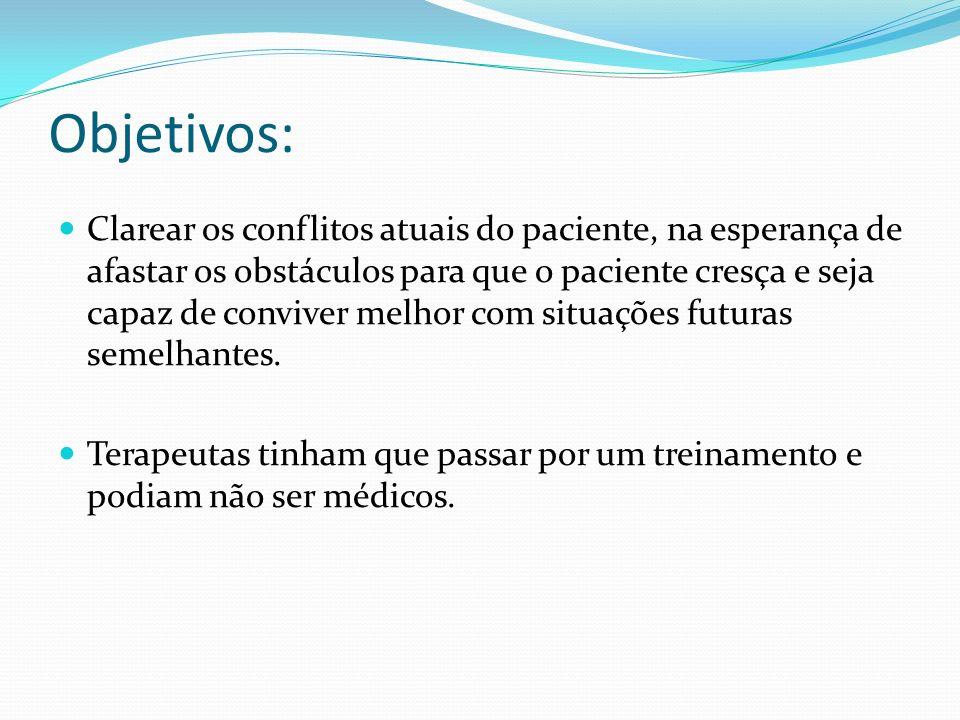 Objetivos: Clarear os conflitos atuais do paciente, na esperança de afastar os obstáculos para que o paciente cresça e seja capaz de conviver melhor c