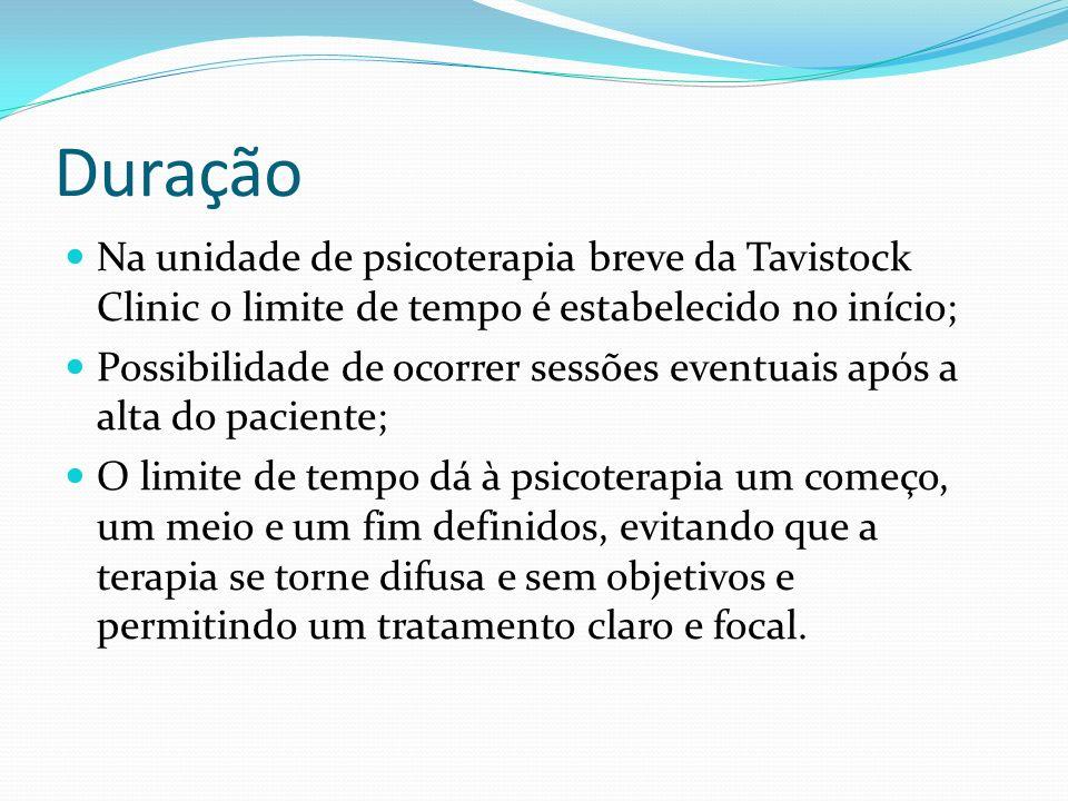 Duração Na unidade de psicoterapia breve da Tavistock Clinic o limite de tempo é estabelecido no início; Possibilidade de ocorrer sessões eventuais ap