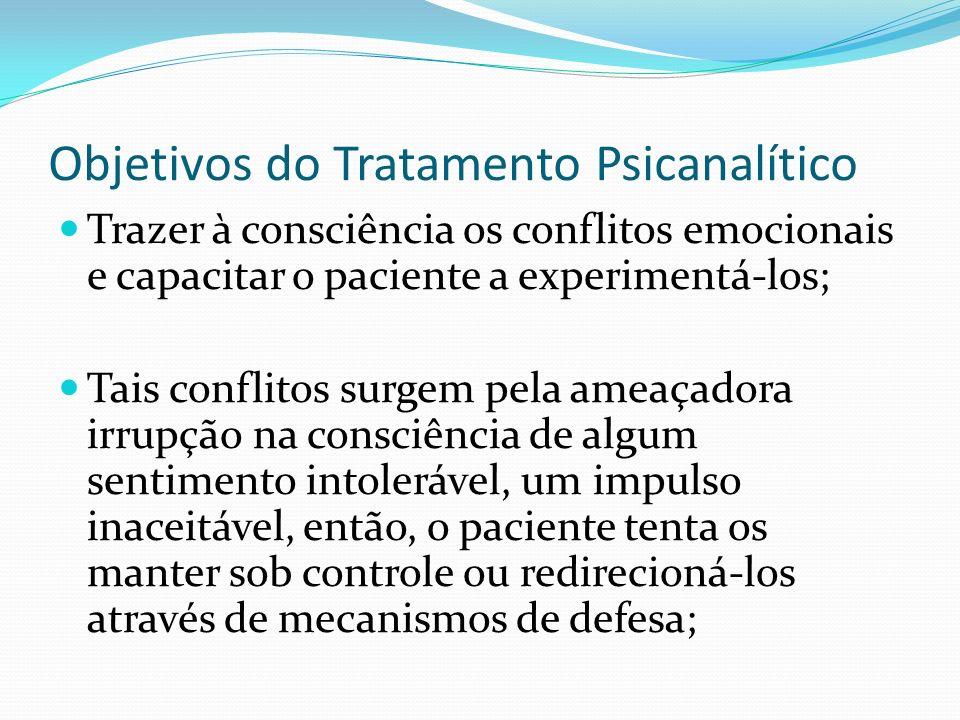 Objetivos do Tratamento Psicanalítico Trazer à consciência os conflitos emocionais e capacitar o paciente a experimentá-los; Tais conflitos surgem pel