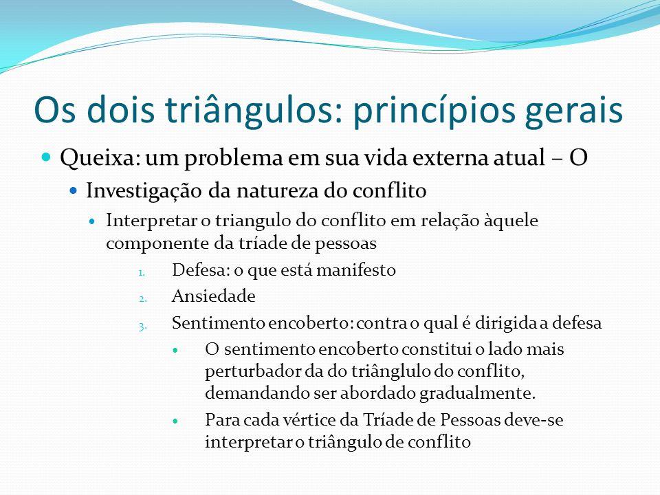 Os dois triângulos: princípios gerais Queixa: um problema em sua vida externa atual – O Investigação da natureza do conflito Interpretar o triangulo d