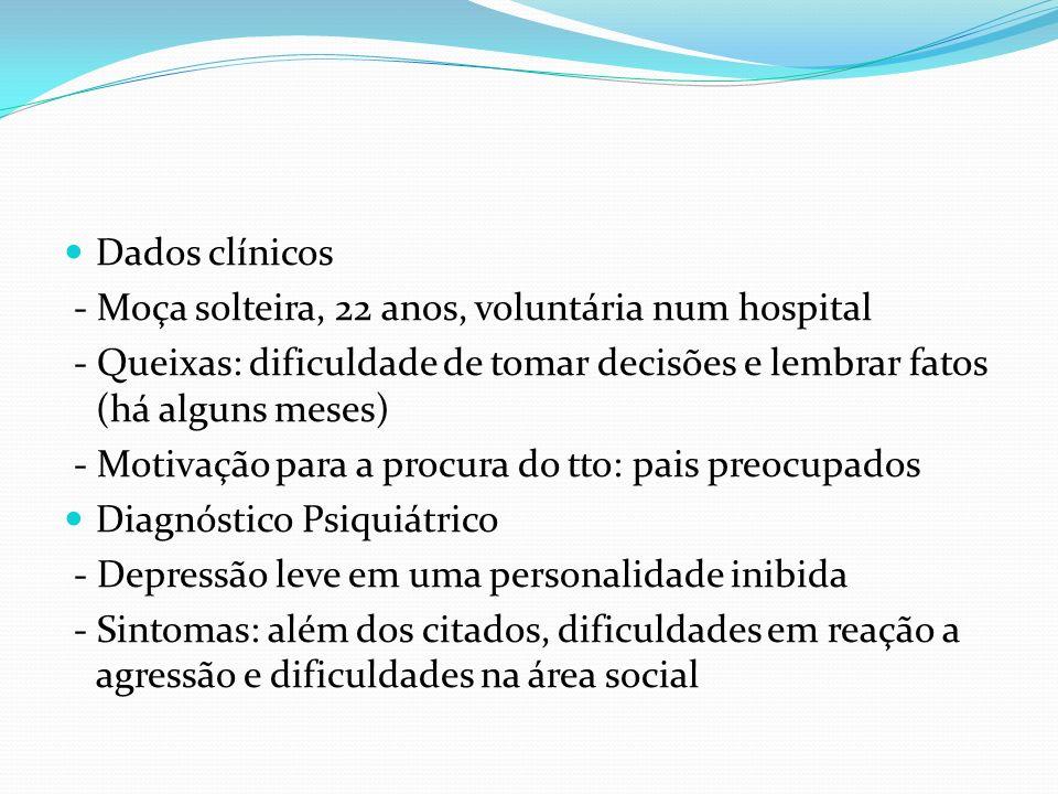 Dados clínicos - Moça solteira, 22 anos, voluntária num hospital - Queixas: dificuldade de tomar decisões e lembrar fatos (há alguns meses) - Motivaçã