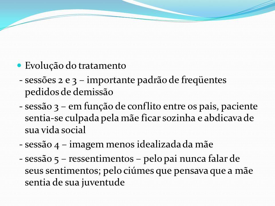 Evolução do tratamento - sessões 2 e 3 – importante padrão de freqüentes pedidos de demissão - sessão 3 – em função de conflito entre os pais, pacient