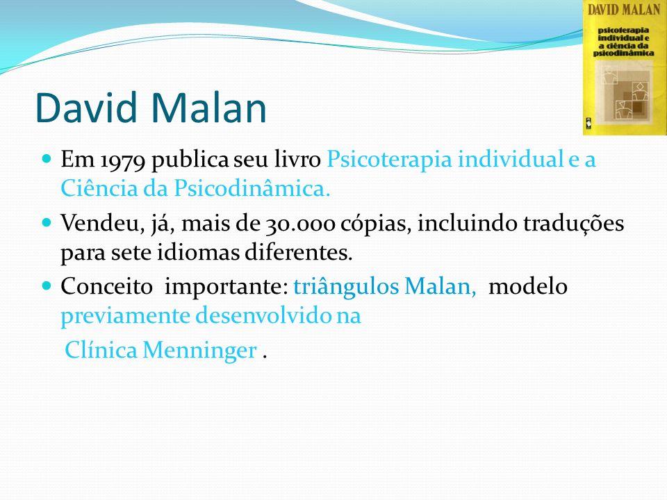 David Malan Em 1979 publica seu livro Psicoterapia individual e a Ciência da Psicodinâmica. Vendeu, já, mais de 30.000 cópias, incluindo traduções par