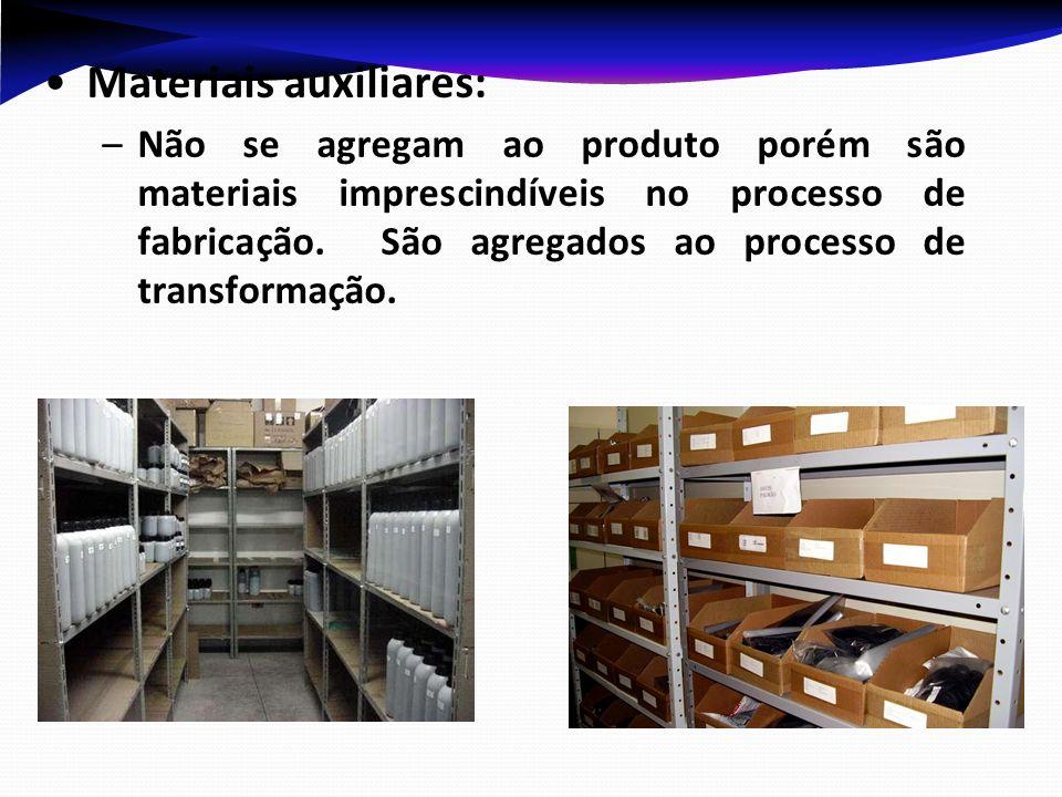 Materiais auxiliares: –Não se agregam ao produto porém são materiais imprescindíveis no processo de fabricação. São agregados ao processo de transform